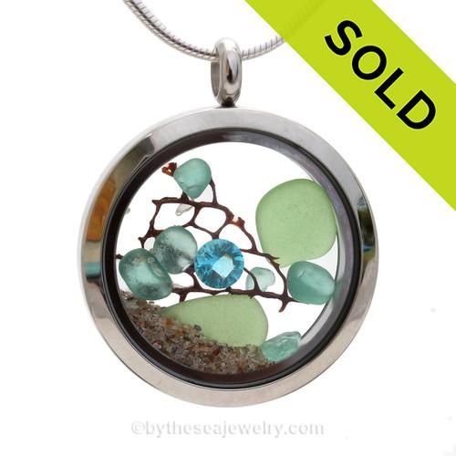 Spring Tides - Genuine Seafoam Green and Vivid Aqua Sea Glass with Crystal Aquamarine Gem