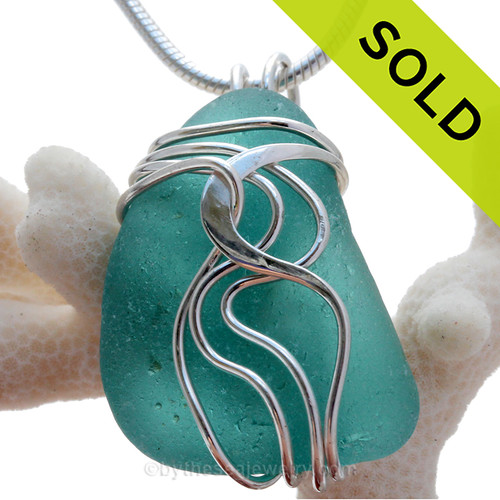 LARGE Vivid ELECTRIC Aqua Or Turquoise Sea Glass Sterling Waves© Signature Sterling Setting Pendant