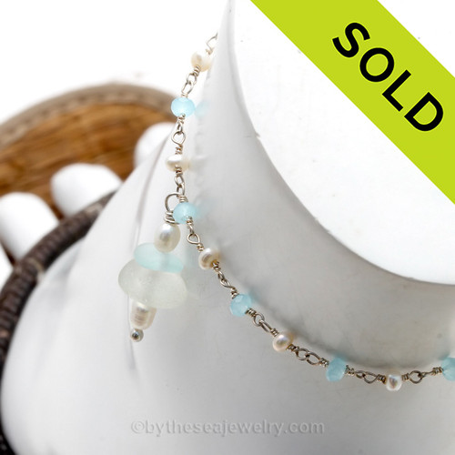 Solid Sterling Simple Pure White and a Love Pale Aqua Sea Glass Ankle Bracelet With Pearls and Aquamarine Delicate Chain Handcrafted Solid Sterling on a pearl and aquamarine sterling chain. SOLD - Sorry this Sea Glass Ankle Bracelet is NO LONGER AVAILABLE
