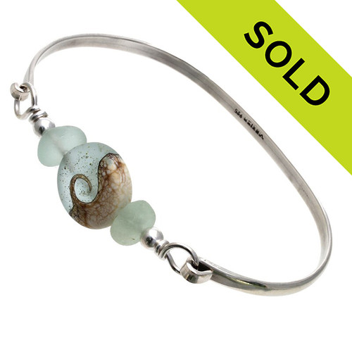 Tropical Seas -Genuine Sea Glass Sterling Silver Bangle Bracelet with Wave Bead