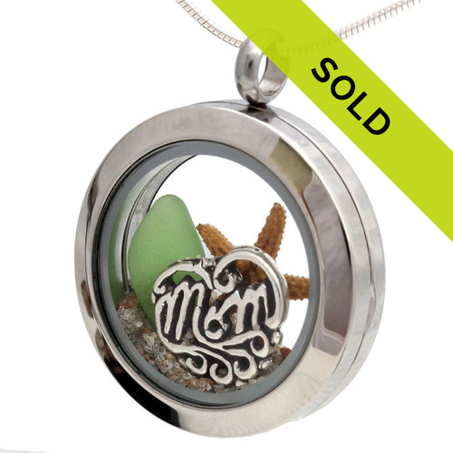 For Mom - Green Sea Glass and Real Sand With Mom Charm