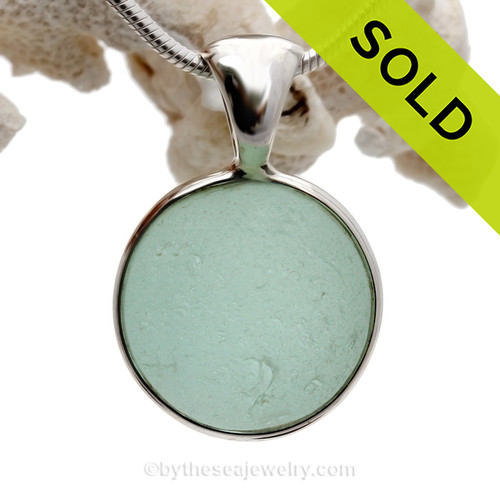 Sea World - Genuine Beach Found Seaglass Codd Marble In Deluxe Wire Bezel© Necklace Pendant