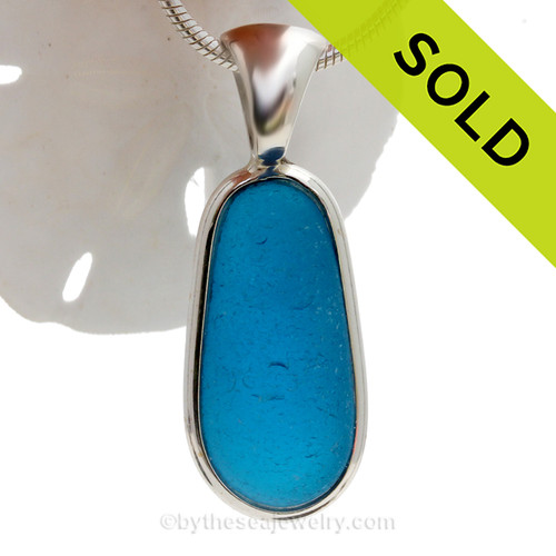 ULTRA RARE - PERFECT Long Electric Aqua Natural Beach Found Sea Glass In Deluxe Sterling Bezel© Necklace Pendant