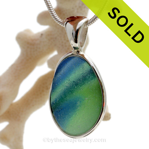 This is a LARGE SUPER ULTRA RARE Unusual color Mixed English Multi sea glass set for a necklace in our Deluxe Sea Glass Bezel© in solid sterling silver setting.