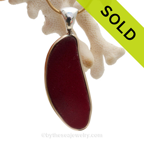 P-E-R-F-E-C-T Large and Long Ruby Red Sea Glass Pendant In Tiffany Mixed Deluxe Wire Bezel©