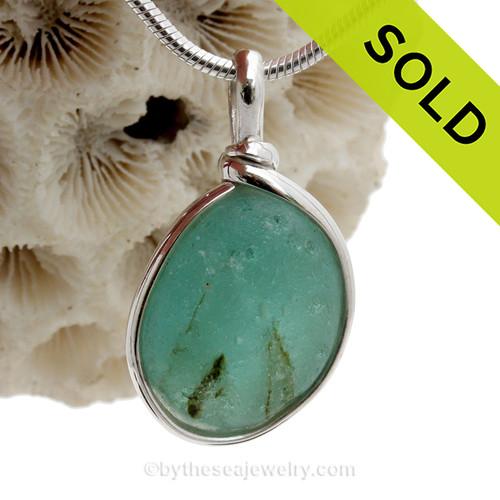 Tropical Bubbles - Genuine Aqua Green End Of Day Sea Glass In Original Silver Wire Bezel© Pendant