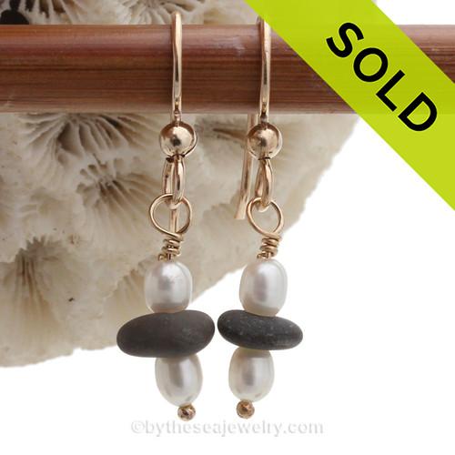 Greecian Beach Pebbles on 14K Goldfilled Leverbacks & AAA Grade Pearls