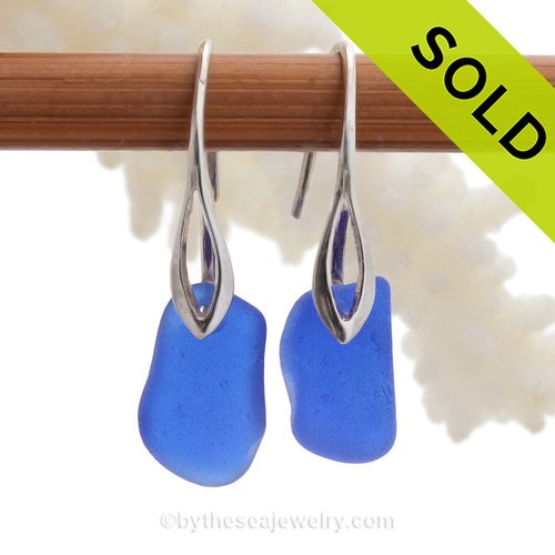 Bold Vivid Cobalt Blue Sea Glass Earrings on Solid Sterling Deco Hooks