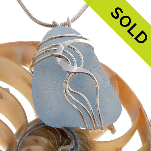 Thick Chunky Ice Blue Sea Glass Waves© Signature Solid Sterling Silver Setting Pendant (SSP20251)