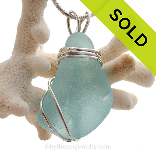 L-A-R-G-E and Thick Aqua Sea Glass Sterling Triple WIre Setting Necklace Pendant