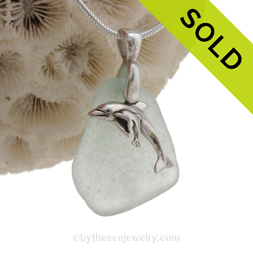 "Mother and Child - Pale Aqua Sea Glass With Sterling Silver Dolphins Charm - 18"" STERLING CHAIN INCLUDED"