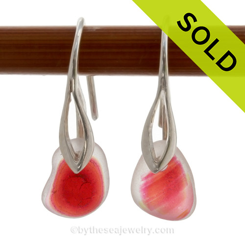 Vivid and VERY RARE Hot Pink and Yellow Mixed Genuine sea glass pieces really glow hanging from these Solid Sterling Silver Deco earrings. The color is NOT applied but was incorporated into the glass over 100 years ago! Flashed sea glass from this region of England is the result of scrap art glass destined for window panels and decorative housewares in the Victorian era. The scrap was tossed into the sea. These lovely frosted Natural sea glass gems are the result.