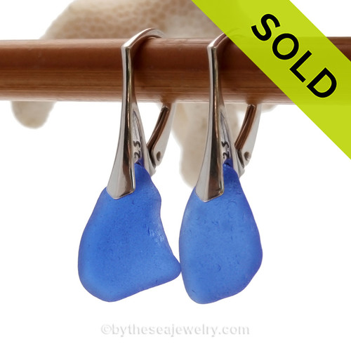 Medium Genuine Blue Sea Glass Earrings on Solid Sterling Leverbacks