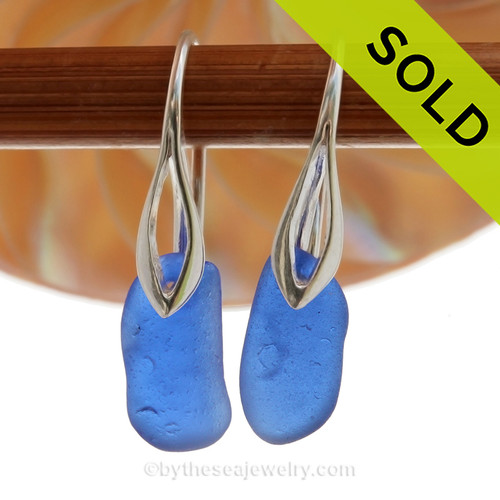 Ovals of Genuine Cobalt Blue Sea Glass on Solid Sterling Deco Hook Earrings