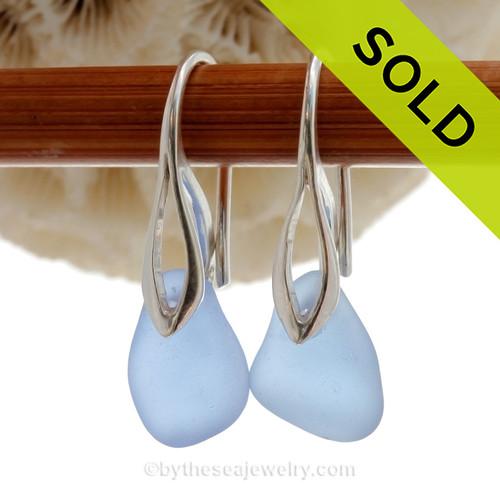 Fresh Carolina Blue Sea Glass Earrings on Solid Sterling Deco Hooks