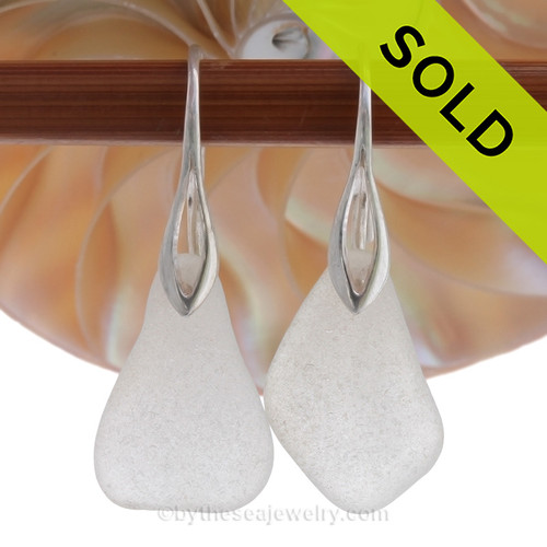 LARGE White Genuine Sea Glass Earrings On Silver Silver Deco Hooks