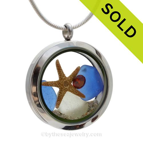 Red White and YOU! - Genuine Cobalt Beach Found Sea Glass, Starfish & Beach Sand