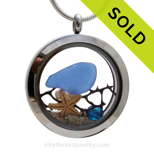 Summer Seas  - Genuine Cobalt Beach Found Sea Glass, Starfish & Pearls