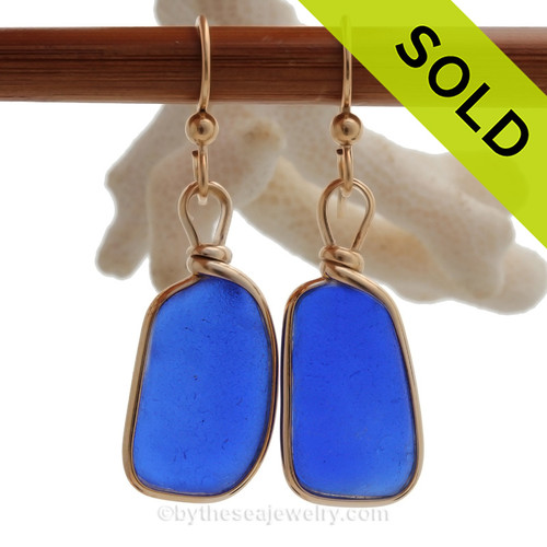 LARGE Oblong Cobalt Blue Genuine Sea Glass Earings 14K Goldfilled Original Wire Bezel©
