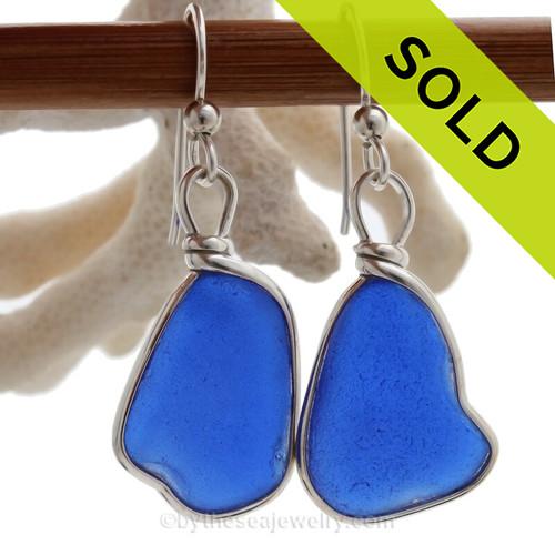 L-A-R-G-E- Vivid Cobalt Blue Genuine Sea Glass Earrings Solid Sterling Silver Original Wire Bezel©