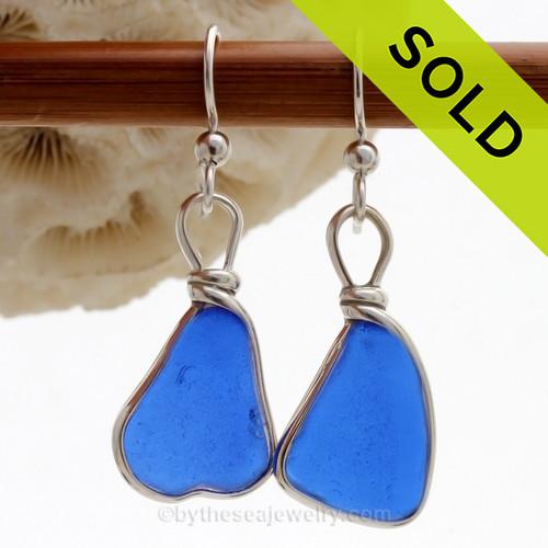 Cobalt Blue Genuine Sea Glass Earrings Solid Sterling Silver Original Wire Bezel©