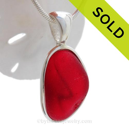 "Red ""Z"" - P-E-R-F-E-C-T Ruby Red Seaham Sea Glass In Sterling Deluxe Wire Bezel© Pendant Setting"
