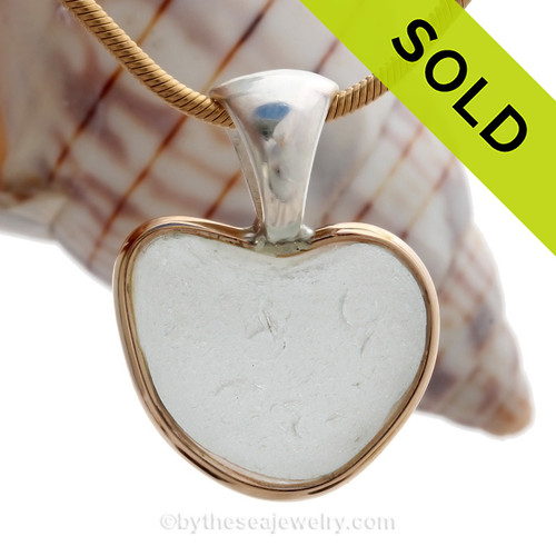 Pure Love - Small White Natural Sea Glass Heart In Deluxe Tiffrany Mixed Metal Bezel© Necklace Pendant