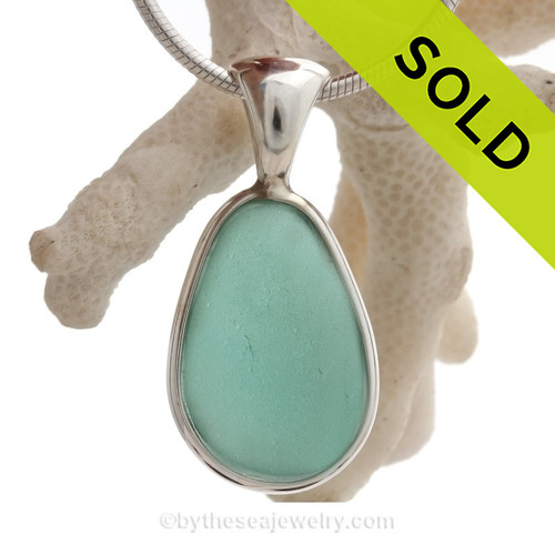 Silky Tropical Aquamarine Genuine Sea Glass Pendant In Tiffany Deluxe Wire Bezel Setting©