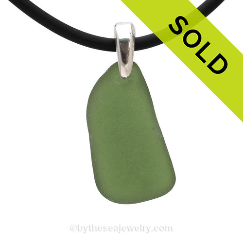 Beautiful Seaweed Green sea glass pendant on a black neoprene cord. SOLD - Sorry this Sea Glass Jewelry selection is NO LONGER AVAILABLE!