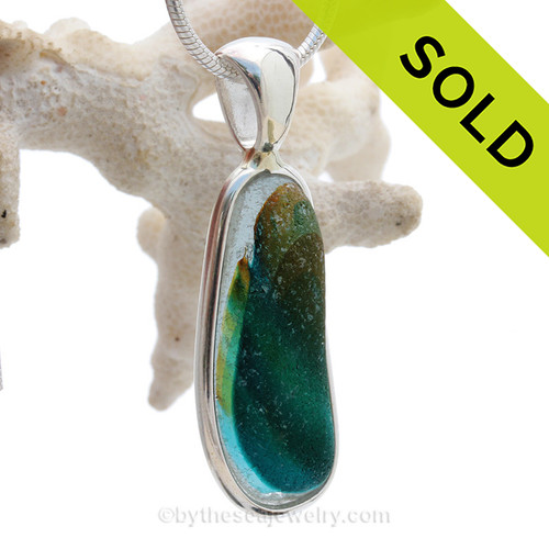 Sunset Lagoon- LARGE Super Ultra Rare Seaham Sea Glass In Sterling Silver Deluxe Wire Bezel©