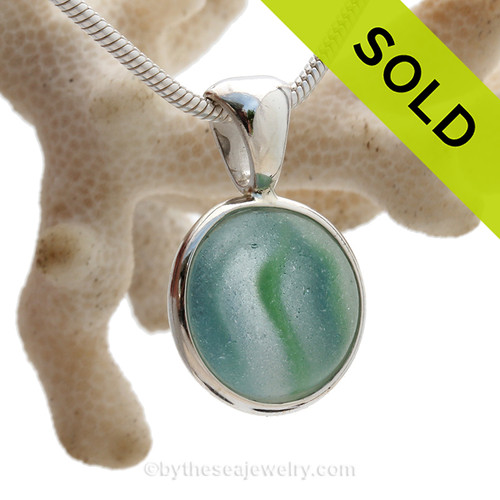 Sea World - Rare Aqua and Green Onionskin Marble Beach Found Sea Glass In S/S Deluxe Wire Bezel© (ULTRADELUXE239)