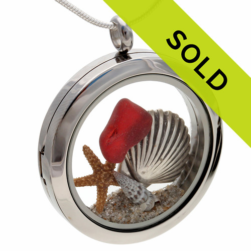 Red Beachlovers Locket Real Sea Glass W/ Sand, Shell & Starfish