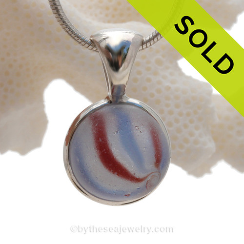 Patriot Parade - Ultra Rare Red White and Blue n Onion Skin Marble in our Deluxe Wire Bezel Setting.