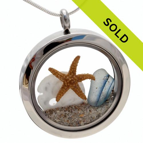 Beachlovers Locket English Sea Glass W/ Starfish & Sandollar