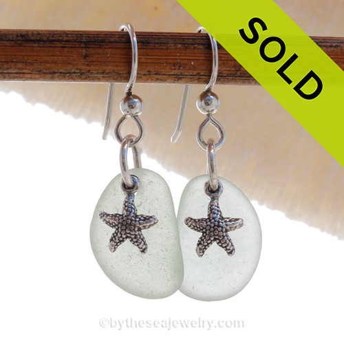 Genuine Soft Green Sea Glass Earrings In Pure White on Sterling Silver With Starfish Charms