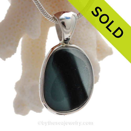 A Mixed Gray English Multi sea glass set for a necklace in our Original Sea Glass Bezel© in Solid Sterling Silver setting. SOLD - Sorry this Rare Sea Glass Pendant is NO LONGER AVAILABLE!