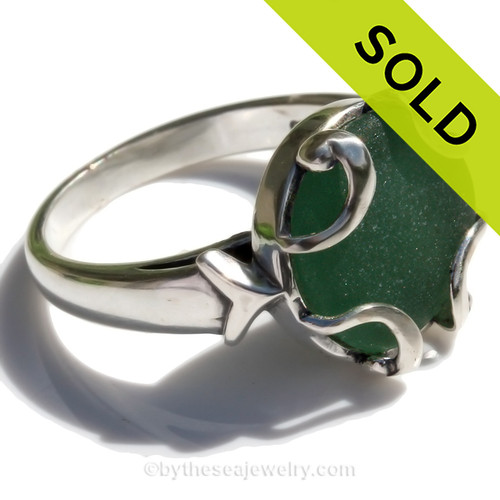 LOW PROFILE - Seaweed Green Beach Found Sea Glass In Sterling Silver Bezeled Dome Ring - Size 8 (Re-Sizeable)