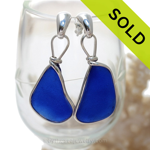 P-E-R-F-E-C-T Very Large Intense Cobalt Blue Sea Glass Earrings Silver Original Wire Bezel© On Posts