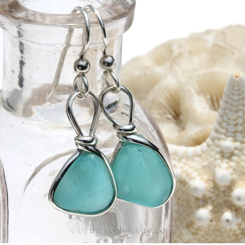Thick Smaller Aqua blue beach found Sea Glass Earrings set in our signature Original Wire Bezel© setting in silver.