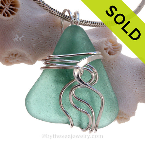 Aqua Green Genuine Sea Glass Sterling Waves© Signature Sterling Setting Pendant