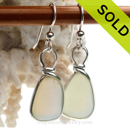 Super Ultra Rare Opalized Sea Glass Earrings in our Original Wire Bezel© setting of Sterling Silver