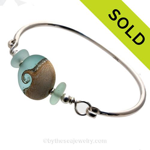 Tropical Wave - Fresh Sea Green Sea Glass Sterling Premium Bangle Bracelet With Lampwork Wave Bead
