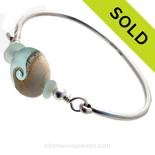 Tropical Wave - Fresh SeaFoam Green Sea Glass Sterling Premium Bangle Bracelet With Lampwork Wave Bead. SOLD - Sorry this Sea Glass Bangle Bracelet is NO LONGER AVAILABLE!