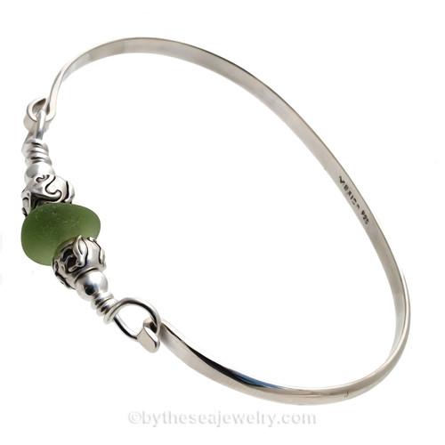 Vivid Bright Sea Green Sea Glass Sterling Bangle Bracelet W/ sea Life Beads