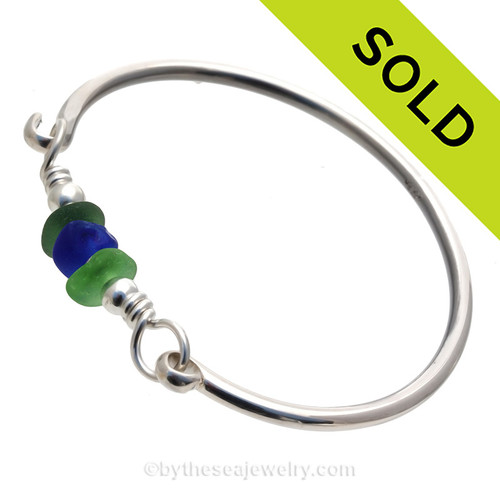 A Trio of Cobalt Blue , Seaweed Green and Vivid  Green Sea Glass on Our Premium Bangle Bracelet. SOLD - Sorry this Sea Glass Bangle Bracelet is NO LONGER AVAILABLE!