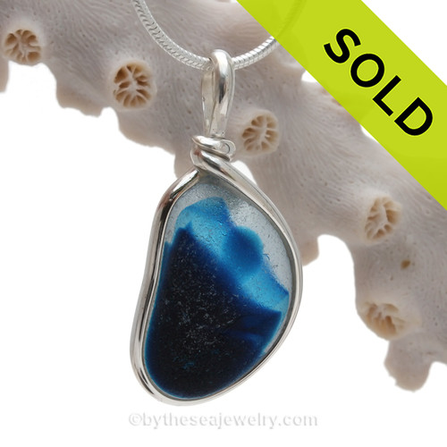 Large Royal Blue Multi Seaham Sea Glass In Sterling Silver Original Wire Bezel©