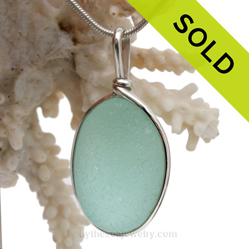 P-E-R-F-E-C-T & LARGE Aqua Green Genuine Sea Glass Pendant In Sterling Original Wire Bezel©