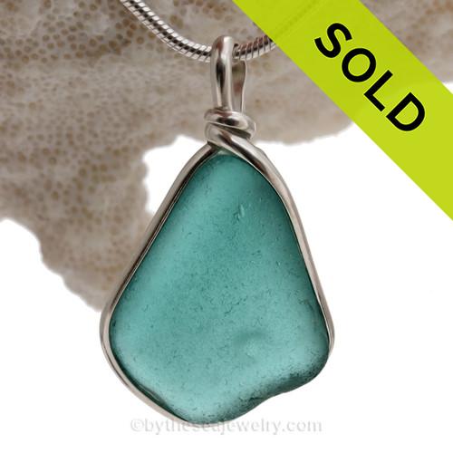 Deep Aquamarine Genuine Sea Glass Pendant In Sterling Original Wire Bezel Setting©