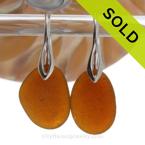 Larger Warm Amber Brown Sea Glass Earrings On Silver Silver Deco Hooks