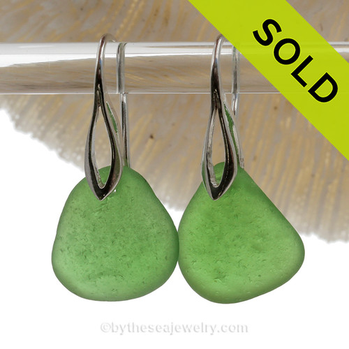 Larger Perfect Beach Found Green Sea Glass Earrings On Silver Silver Deco Hooks